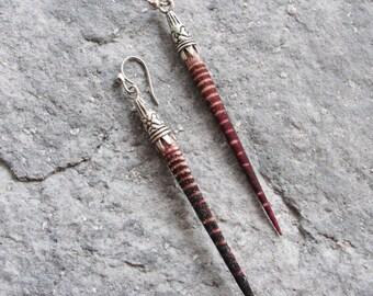 Striped Sea Urchin Spine Earrings Seashell Beach Jewelry