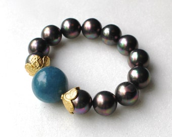 Little Luxe Simple Stacking Stretch Bracelet in Aquamarine and Grey Pearl...