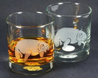 2 Manatee Lowball Glasses - Set of 2 - etched sea cow whiskey glass