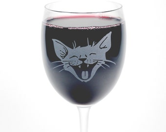 Laughing Cat Wine Glass