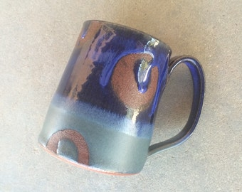 Blue Mod  mug, coffee mug, tea cup, handmade pottery mug
