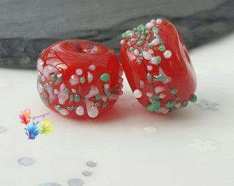 Lampwork Beads Festive Red Blossom Pair