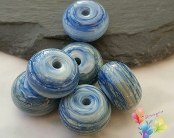 Lampwork Spacer Beads Streaky Denim