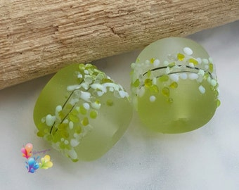 Lampwork Beads Apple Tree Blossom Pair