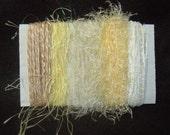 Yarn Scraps Ivory White Gold Eyelash Ribbon Yarn 1288