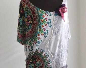 Boho Shabby Rustic Tunic Upcycled Eco Weekend Top Handmade Romantic Funky Chic