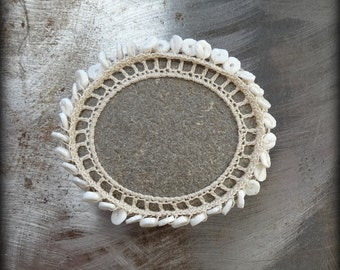 Crocheted Lace Stone, Small, Beaded, Handmade, Ecru Thread, Table Decorations, Home Decor, Shell, Monicaj