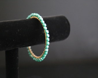 Teal Bangle Braclet, wire-wrapped faceted bracelet on a brass bangle