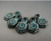 SALE Naos Mykonos Beads Greek Beads Hexagon Dangle Charm Antiqued Green Patina (5 charms)