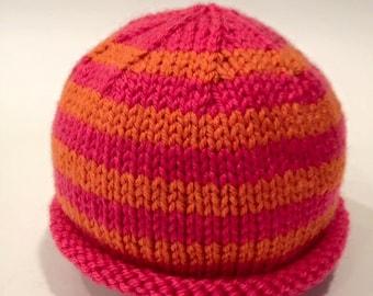 Pink + Orange Newborn Knit Baby Hat - Handmade - READY TO SHIP
