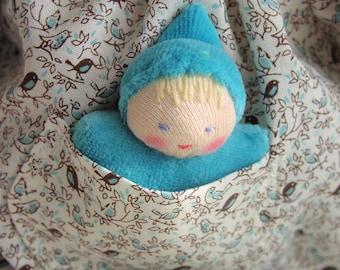 14 -16 inch, Waldorf Doll Clothes, germandolls, Blue Birds, pocket dress, for Waldorf dolls,  handmade dolls, Waldorf toy, doll frock