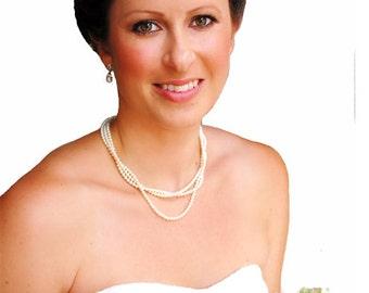 Bridal Earrings Crystal Leaf Pearl Drop Earrings Wedding Jewelry