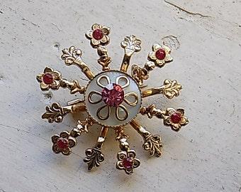 FREE SHIPPING Vintage Pink Rhinestone Brooch Pin Jewelry
