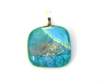 Shades of Blue, Magenta, Purple and Yellow Dichroic Glass Pendant on an Adjustable Necklace