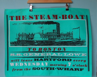vintage The steamboat to Boston towel