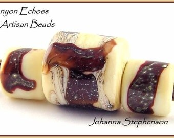 BIG HOLE Red Brown Silvered Shards on Ivory Lampwork Bead Set