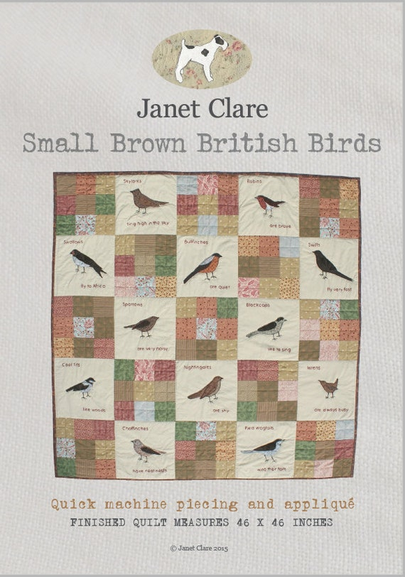 Small Brown British Birds - A lovely, quirky appliqué quilt featuring my favourite small British birds (which are mainly brown!)