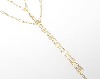 Gold Lariat Necklace, Y Necklace, Tassel Necklace, Double Strand Lariat Necklace as Seen On Cameron Diaz