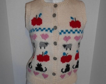 Vintage Handmade wool sweater vest button up color Knit sheep heart apple cat