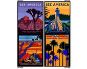 VP477-480 Vintage Travel Poster Art - One 8x10 or Two 5x7s - See America USA National Parks, Joshua Tree, Acadia, Grand Canyon, Santa Monica