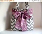 SALE Bow Diaper Bag - Diaper Bag - Chevron Bag - Purple Bow - Tote Bag - Project Bag