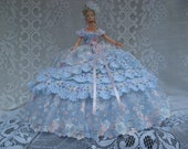 OOAK Blue, Pink and White Hand Crochet and Imported Lace Barbie Bed Pillow Doll