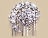 Art Deco Bridal Hair Comb Vintage Inspired Wedding Hair Comb Pearl Rhinestone Wedding Hair Accessories Bridal Comb Crystal, Silver Statement