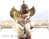 Kitty The Guardian Angel of Cats Art Doll Angel Animal Theme OOAK Sculpted Assemblage Doll Lorelie Kay Designs
