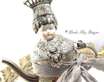 Queen Winifred  Art Doll Functional Teapot  Silver Shabby  Assemblage Art Doll  One-of-a-kind Mixed Media Sculpture