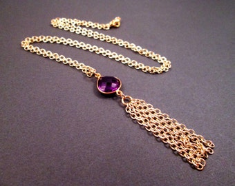 Tassel Necklace, Amethyst Purple Glass Bezel and Gold Chain Necklace, Pendant Necklace, FREE Shipping U.S.