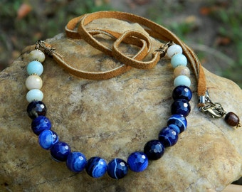 Blue Faceted Agate and Amazonite Boho Necklace