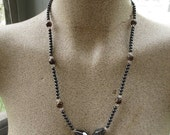 SALE Vintage Hematite Blood Stone Long Beaded Necklace