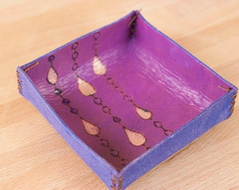 Valet Tray - Leather Catchall Tray in the Purple Rain Pattern - Raindrops and Purple Leather - Jewelry, Key, Mail or Nightstand catch all