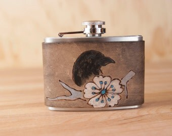 4oz Leather and Stainless Steel Flask - Heather pattern - Crow and flowers - Black, turquoise, white and antique black