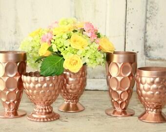Rose gold vase, gold centerpiece, Set of 6 rose gold vintage pedestal bowls, gold wedding decor, rose gold crystal, fall wedding decor