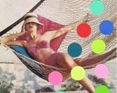 Fashion Collage.OOAK,sixties,vintage.Style.hammock.retro.polka dots.wall art.home deco.boho.gypsy.hippie.bikini.color.dots.spots.beach.vacay