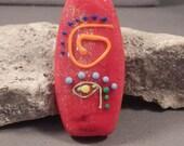 Handmade Lampwork Focal Bead by Mona Sullivan - Psychedelic - Monaslampwork Etsy Enamels Dots Fine Lines Gypsy Boho Tribal Retro Organic