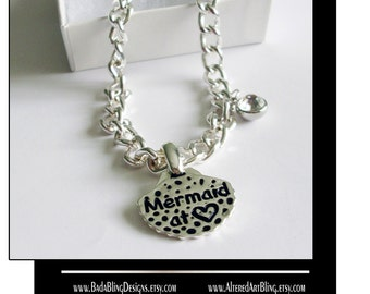 Mermaid At Heart,  pendant..gift boxed with chain...READY to SHIP, nautical jewelry, mermaid jewelry, mermaid pendant,beach