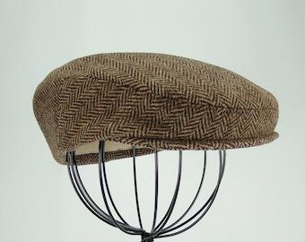 Men's Hat - Wool Tweed Herringbone Golf Cap in Tan and Brown, Flat Jeff Cap, Ivy Cap, Driving Cap for Boys, Toddler, & Baby Too