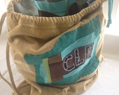 Drawstring Priject Bag Upcycled from tShirt materials CLE for Cleveland