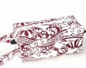 Boxy Bag Knitting Project Zippered Pouch - Imported Japanese fabric, Mount Fuji and waves, red and white