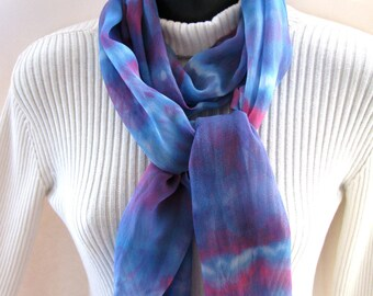 Spring Scarf for Women Hand Dyed Silk Chiffon Scarf in Blueberry Blue and Magenta Striped Shibori Dyed Wearable Art Gift for Her extra long