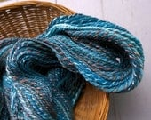 Blue Morpho, handspun wool and tencel yarn, 182 yds/166 m