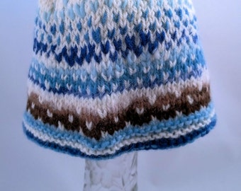 Handspun baby hat, Blue Brown to White. A soft wool and angora hat to keep your precious one warm. OOAK