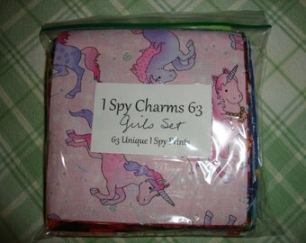 "DIY I Spy Quilt Kit - 63 Precut 5"" Charm Squares- GIRLS Collection"