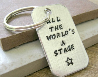 All The World's A Stage Drama Keychain, optional personalized initial gift, theater gift, actor gift, actress gift, performer, thespian