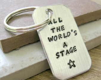 All The World's A Stage Drama Keychain, Personalized Drama keychain, Drama quote, optional initial disc, theater, actor gift, actress gift