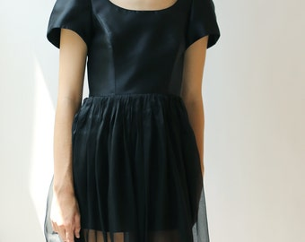 Sample SALE -  fashion forward black silk chiffon dress