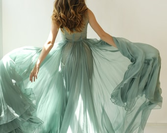 SALE -Colleen -  long muted turquoise green silk chiffon dress