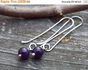 20% OFF TODAY - Amethyst Dangle Earrings - Dark purple beaded earrings amethyst earrings February birthstone earrings sterling silver